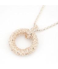 Metallic Spiral Circle Design Necklace - Golden