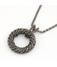 Metallic Spiral Circle Design Necklace - Black