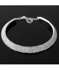 Graceful Rhinestones Planted Short Necklace