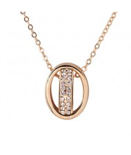 Zircon Inlaid Platinum Plating Copper Lucky Ring Pendant Necklace - Golden