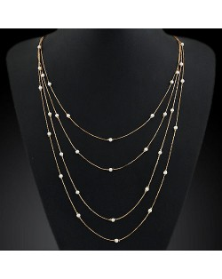 Korean Fashion Pearl Beads Attached Multi-layer Costume Necklace