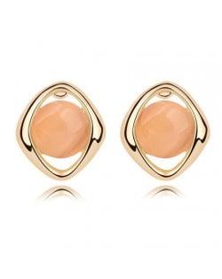 Elegant Opal Stone Embedded Gold Plated Rhombus Ear Studs - Light Orange