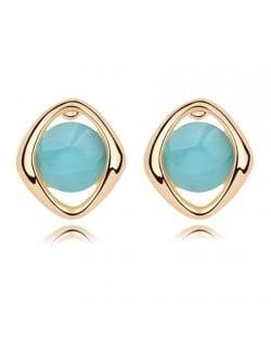 Elegant Opal Stone Embedded Gold Plated Rhombus Ear Studs - Blue