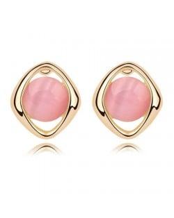 Elegant Opal Stone Embedded Gold Plated Rhombus Ear Studs - Pink
