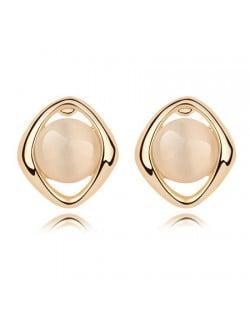 Elegant Opal Stone Embedded Gold Plated Rhombus Ear Studs - Beige