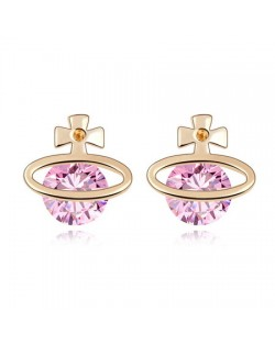 Golden Cross Universe Design Zircon Ear Studs - Pink