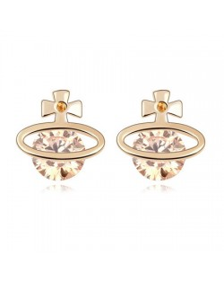 Golden Cross Universe Design Zircon Ear Studs - Champagne