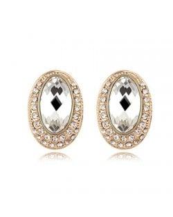 Luxurious Rhinestones Inlaid Gem Style Bold Elliptic Ear Studs - Transparent