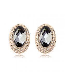 Luxurious Rhinestones Inlaid Gem Style Bold Elliptic Ear Studs - Black