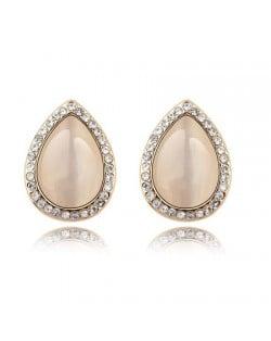 Rhinestones and Opal Stone Inlaid Water-drop Ear Studs - Beige