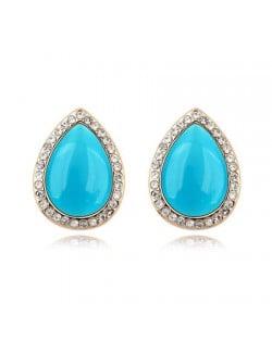 Rhinestones and Opal Stone Inlaid Water-drop Ear Studs - Blue