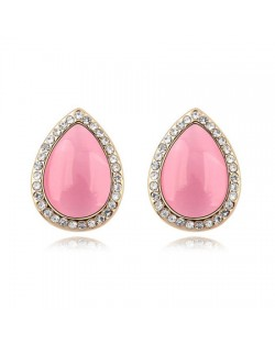 Rhinestones and Opal Stone Inlaid Water-drop Ear Studs - Pink