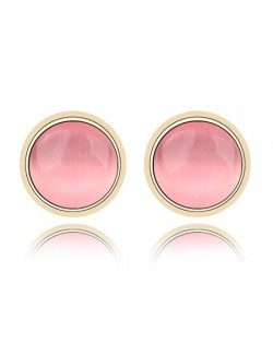 Exquisite Opal Stone Inlaid Round Ear Studs - Pink