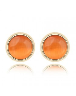 Exquisite Opal Stone Inlaid Round Ear Studs - Orange