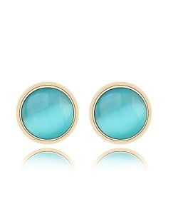 Exquisite Opal Stone Inlaid Round Ear Studs - Blue
