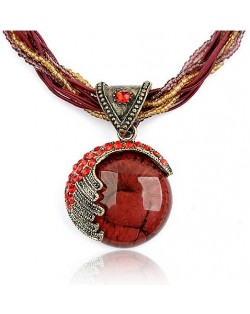 Craving of Mediterranean Bohemian Ethnic Pendant Necklace - Red