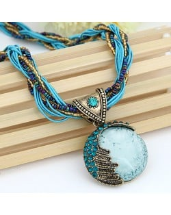 Craving of Mediterranean Bohemian Ethnic Pendant Necklace - Sky Blue