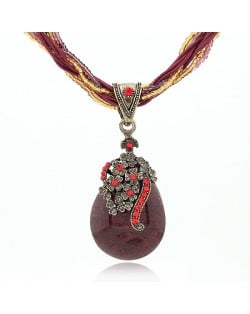 Luxuriant Flowers Attached Water-drop Pendant Bohemian Necklace - Dark Red