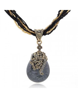 Luxuriant Flowers Attached Water-drop Pendant Bohemian Necklace - Gray