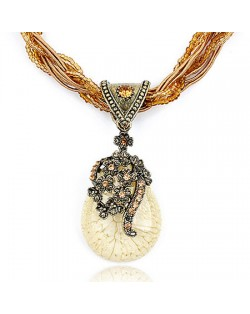 Luxuriant Flowers Attached Water-drop Pendant Bohemian Necklace - Ivory