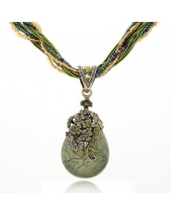 Luxuriant Flowers Attached Water-drop Pendant Bohemian Necklace - Ink Green