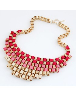Gradient Color Design Cloth and Metallic Bold Necklace - Red to Beige