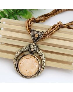 Vintage Bohemian Engraving Pattern Round Gem Inlaid Pendant Necklace - Beige