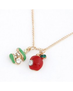 Korean Fashion Oil-spot Glazed Green and Red Apples Pendants Necklace