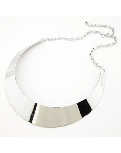 Punk Style Glossy Finish Arc Pendant Necklace - Silver