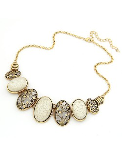 Vintage Oval Shape Hollow-out and Gem Pendants Necklace - White