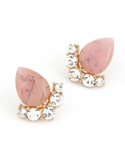 Fair Maiden Style Rhinestone and Opal Ear Studs - Pink