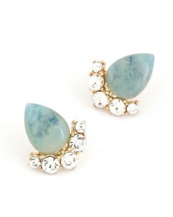 Fair Maiden Style Rhinestone and Opal Ear Studs - Blue