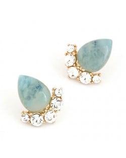 Fair Maiden Style Rhinestone and Opal Ear Studs - Blue