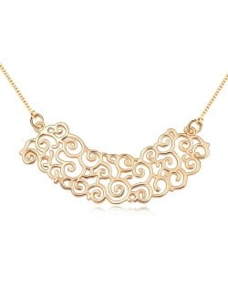 Golden Plating Refined Hollow-out Traditional Asian Design Pendant Necklace