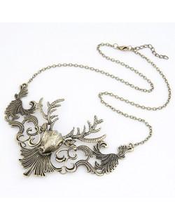 Vintage Hollow-out Elk Pendant Necklace - Copper