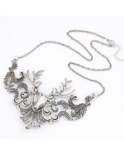 Vintage Hollow-out Elk Pendant Necklace - Silver