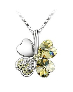 AUSTRIAN CRYSTAL FOUR LEAF CLOVER PLATINUM PLATING NECKLACE - Light Yellow