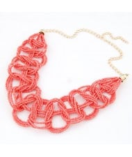 Bohemian Fashion Mini Beads Weaving Quality Necklace - Rose