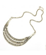 Vintage Nationalistic Style Engraving Arch Pendant Fashion Necklace