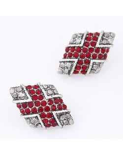 Vintage Rhinestone Inlaid Rhombus Ear Studs - Red