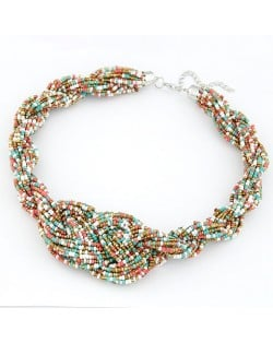Bohemian Handmade Beading Weave Style Necklace - Black