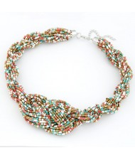 Bohemian Handmade Beading Weave Style Necklace - Multicolor