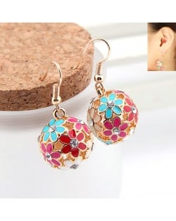Korean Fashion Exquisite Hollow Floral Ball Pendant Earrings