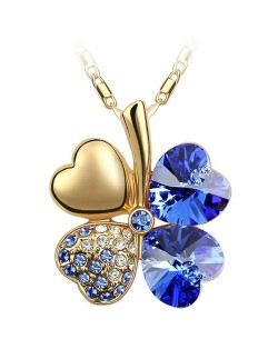 Sweetie Austrian Crystal Gloden Four Leaf Clover Necklace - Blue