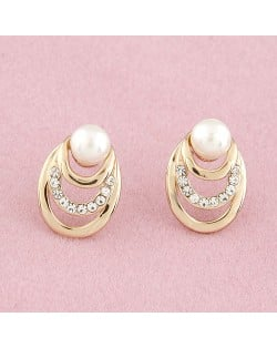 Czech Rhinestone Inlaid Pearl Element Sweet Ear Studs