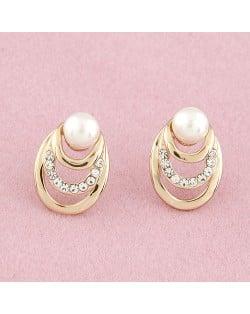 Czech Rhinestone Inlaid Pearl Element Sweet Ear Studs