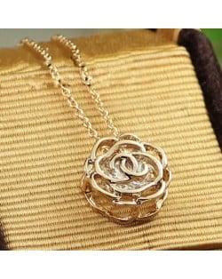 Austrian Zircon Column of Wish Pendant 18K Rose Gold Necklace