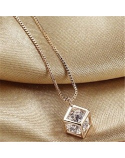 Transparent Austrian Crystal Inlaid Hollow-out Cube 18K Rose Gold Pendant Necklace