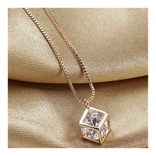 Transparent Austrian Crystal Inlaid Hollowout Cube 18K Rose Gold