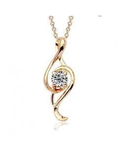 Pearl Inlaid Spiral Shape Pendant 18K Rose Gold Necklace